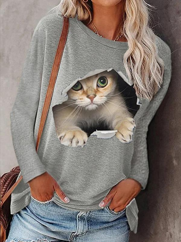Fashion women's round neck pullover cat long sleeve T-shirts