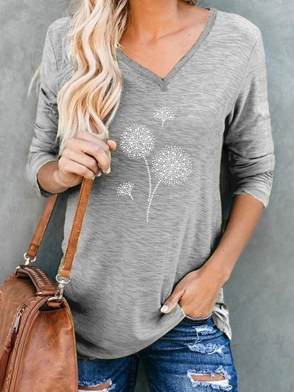 Dandeline printed irregular collar women long sleeve fall T-shirts