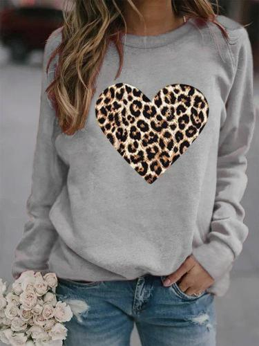Cotton-Blend Casual Leopard Printed Crew Neck Sweatshirt