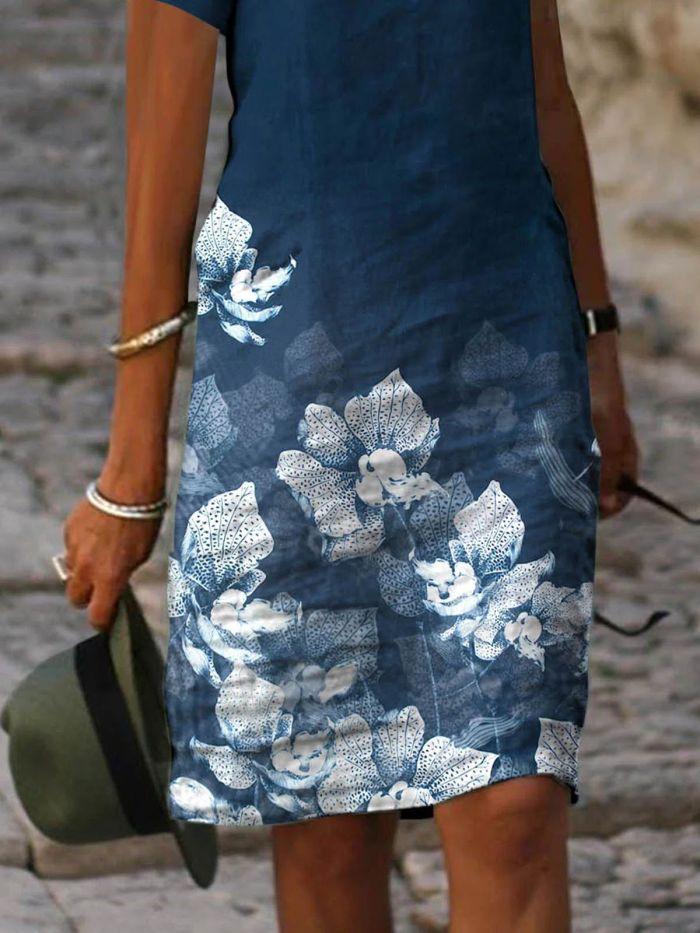 V-neck Floral Print Casual Loose Shift Dresses