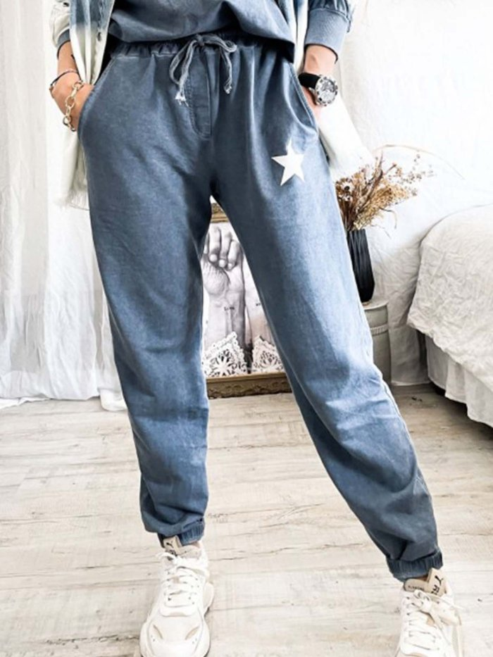 Cotton-Blend Star Printed Long Pants