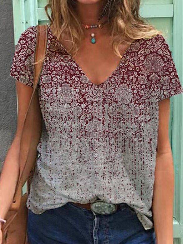V Neck Cotton-Blend Tribal Short Sleeve T-Shirts