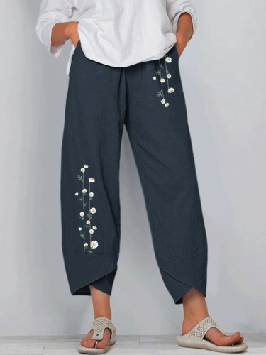 Casual Plus Size Floral Printed Pants