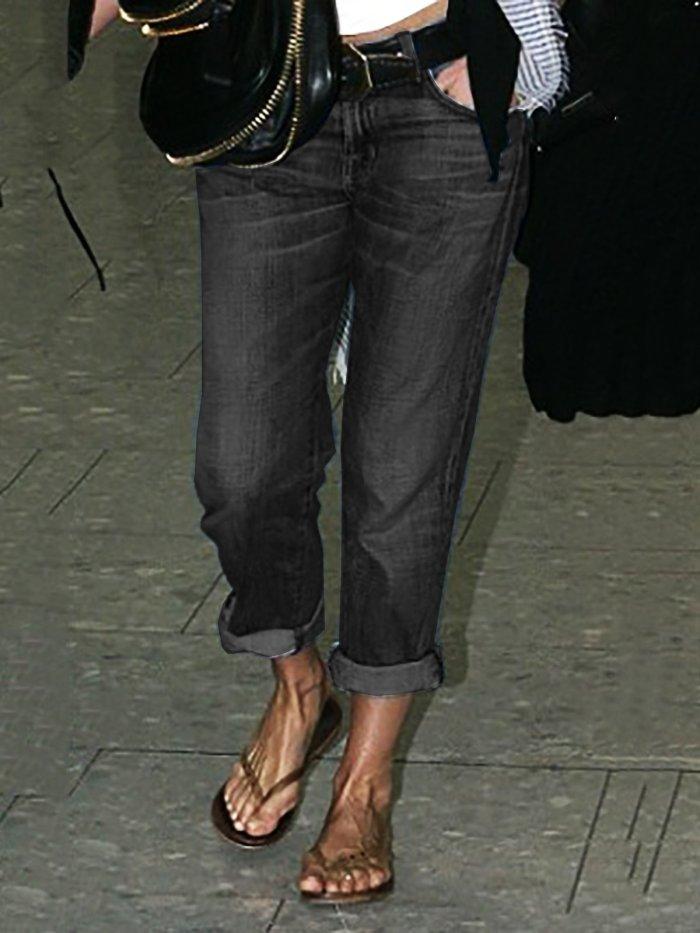 Roll Up Denim Pants Jeans Fall Long Pants