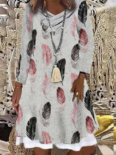 Fashion pile collar feather print long sleeve shift dresses
