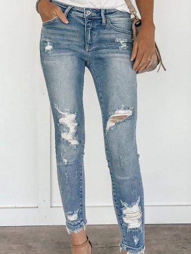 Women denim  Sanding Long Pants