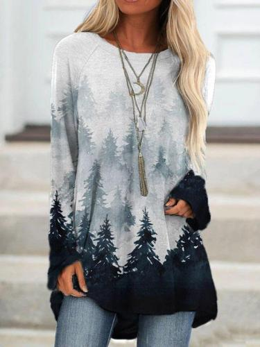 Gray Long Sleeve Ombre/tie-Dye Crew Neck Printed Shirts & Tops