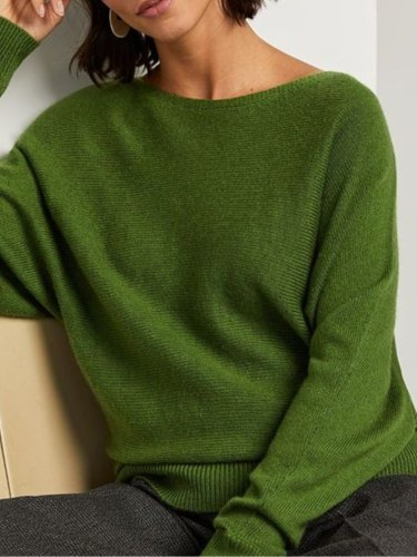 Cotton-Blend Solid Casual Crew Neck Sweater