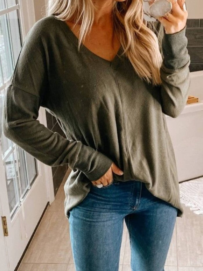 Long Sleeve Casual V Neck Shirts & Tops