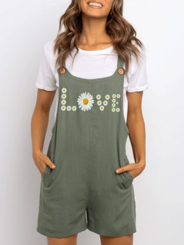 Green Cotton-Blend Casual Floral-Print One-Pieces