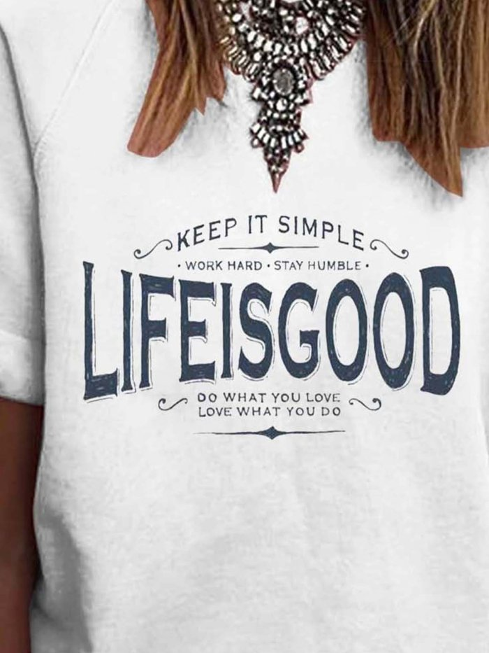 Short Sleeve Letter Printed Cotton-Blend Word Printed T-Shirts