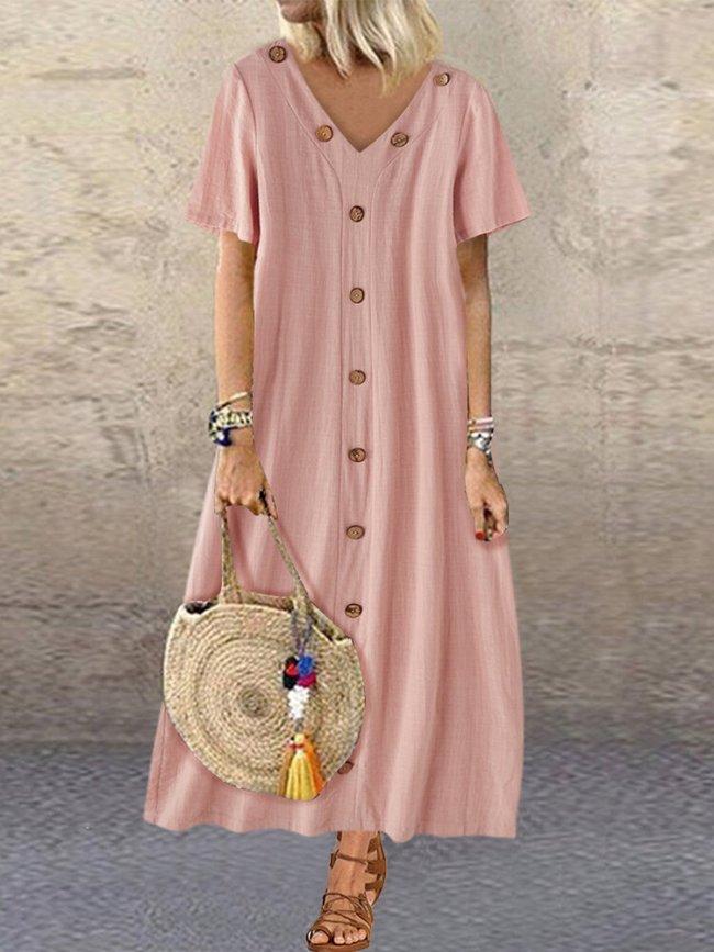 Solid V-Neck Short Sleeve Casual Summer Maxi Dresses