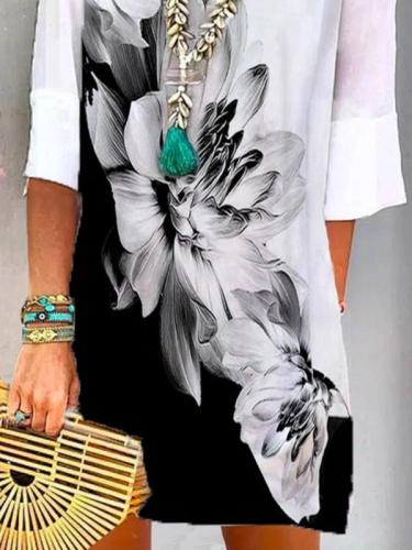 Pre-Sale Floral Shift Casual V Neck Dresses