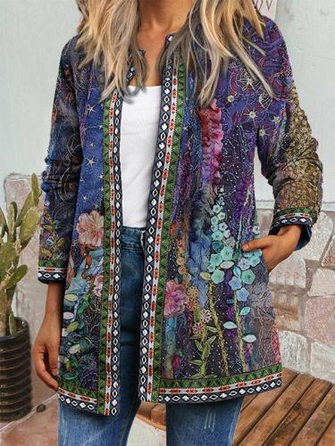 Women round neck long sleeve peinted lace Fall blazer Jackets