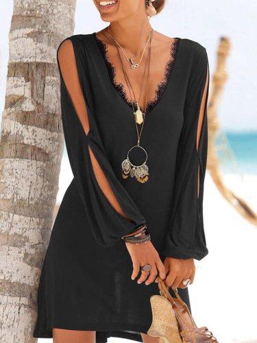 Long Sleeve V Neck Cotton-Blend Dresses