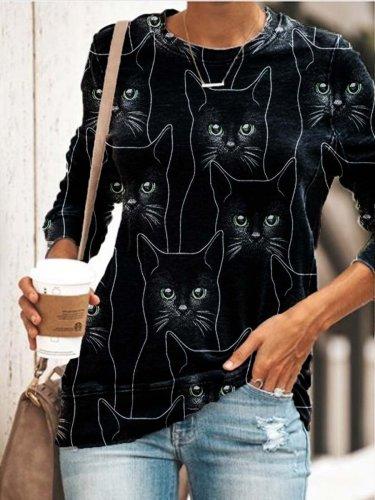 Long Sleeve Cat Printed Cute T-Shirts