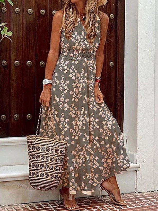 Floral Printed Sleeveless Boho Maxi Dresses