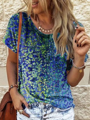 Casual Crew Neck Shift Ombre/tie-Dye Shirts & Tops