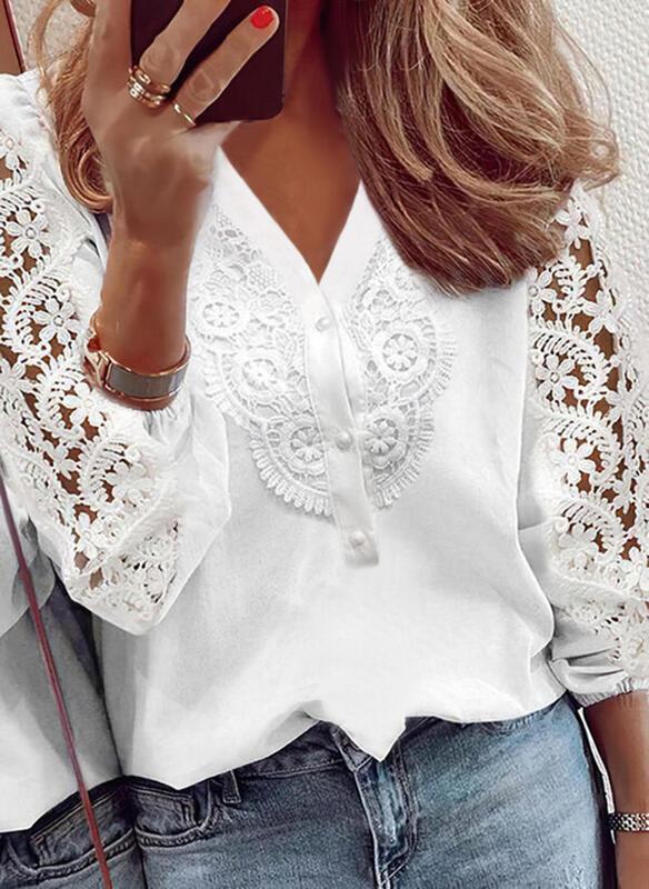 Solid Lace V-Neck Puff Sleeve Elegant Blouses