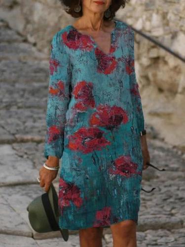 Gradient color floral printed  long-sleeved V-neck mid-length shift dress