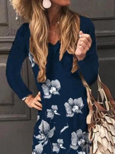V-neck floral printed long sleeve long dress maxi dresses for women
