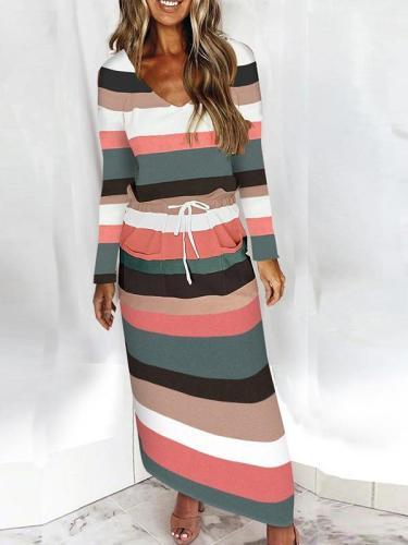 Fashion stripe v neck long sleeve tie waist long dress for women maxi dresses