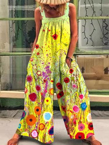 Fashion printed loose strap wide-leg jumpsuits