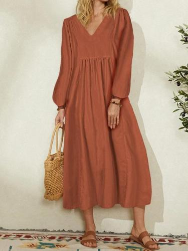 V neck women plain loose long sleeve plain maxi dresses
