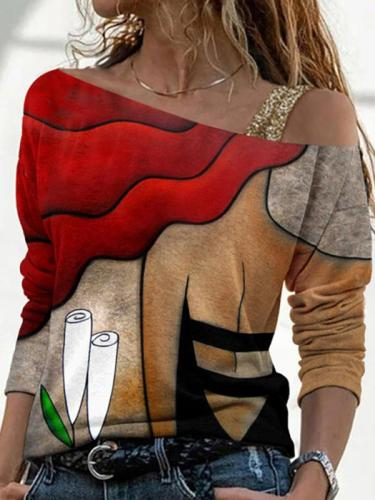 Printed one odd shoulder casual T-shirts