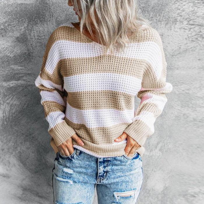 Autumn and winter V-neck knitted top stripe long sleeve sweaters