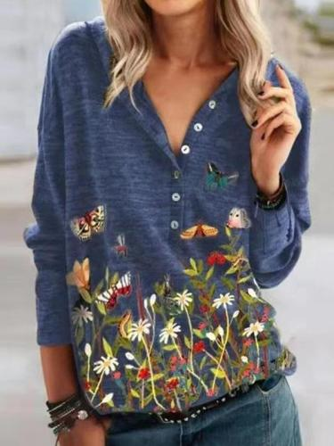 Women hoddied flower and butterfly printed long sleeve button T-shirts