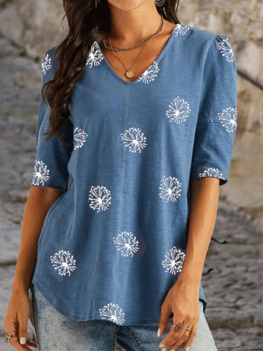 Half Sleeve Printed Cotton-Blend Casual Shirts & Tops
