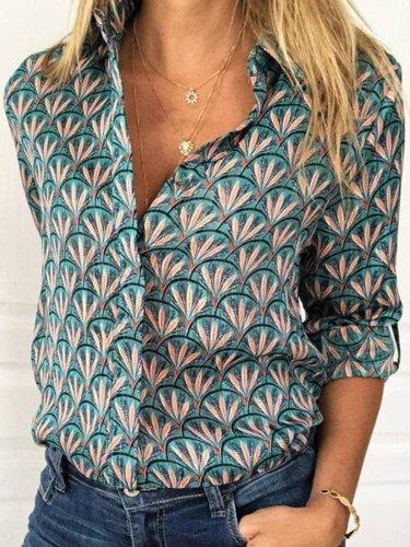 V Neck Vintage Long Sleeve Shirts & Tops