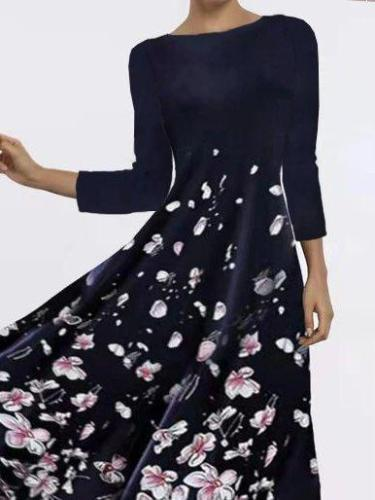 Floral print dress with three-quarter sleeves Midi Dresses for Women