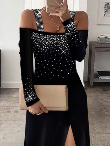 Sexy Abstract Cotton-Blend Long Sleeve Dresses
