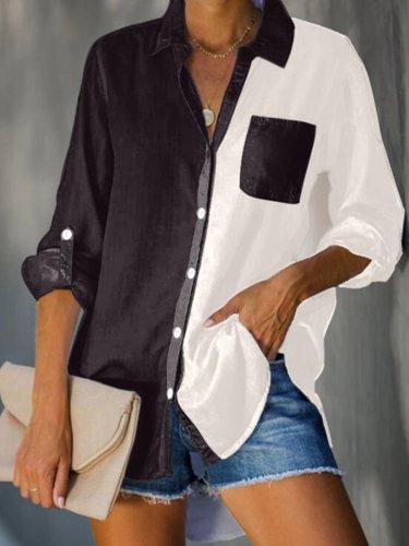 Pockets Long Sleeve V Neck Cotton-Blend Shirts & Tops