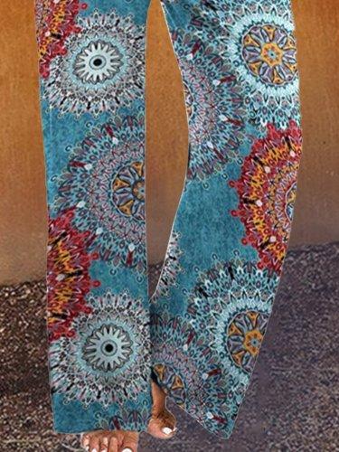 Paisley  Shift  Printed  Cotton-blend  Boho Blue Pants