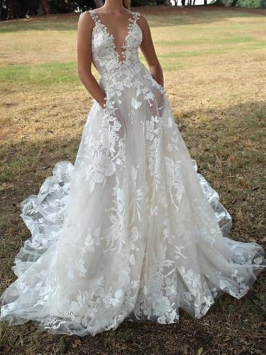Elegant white v neck lace women long dress sleeveless evening dresses