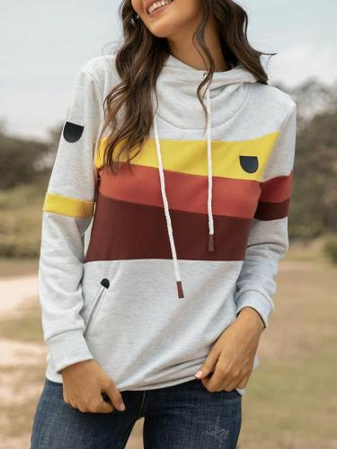 Casual daily hooded loose stitching women's hoodies