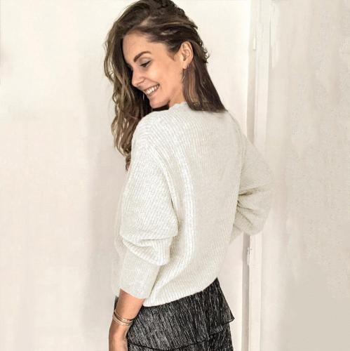 Elegant v neck women plain button design long sleeve sweaters