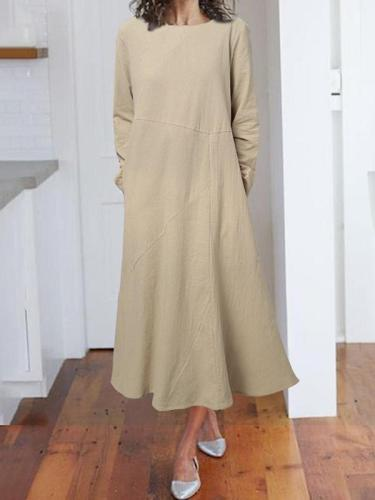 Autumn Cotton blend pullover long sleeve round neck A-line maxi dresses