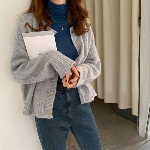 Round neck twist knit cardigans sweaters