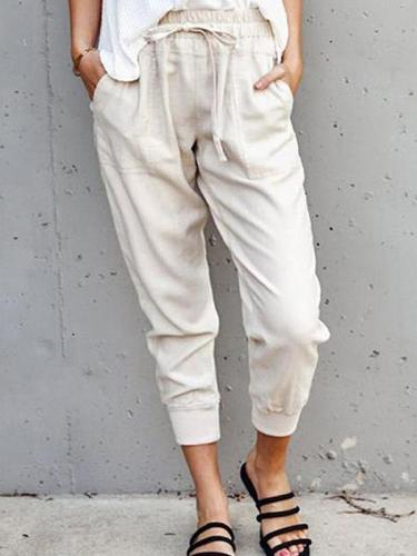 Casual plain easy to match long women pants