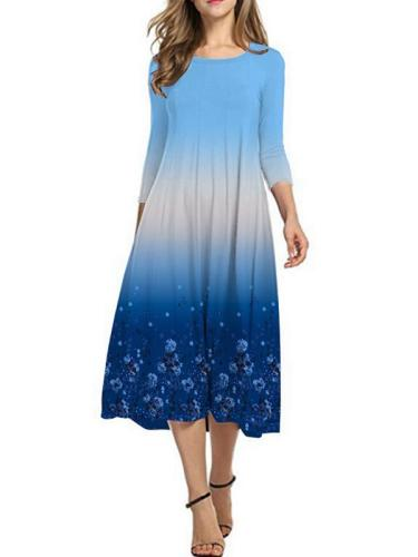 Women's Printed Gradient Long Sleeve Shift Dresses