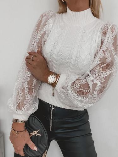 Elegant women high neck women Lantern sleeve lace sweaters