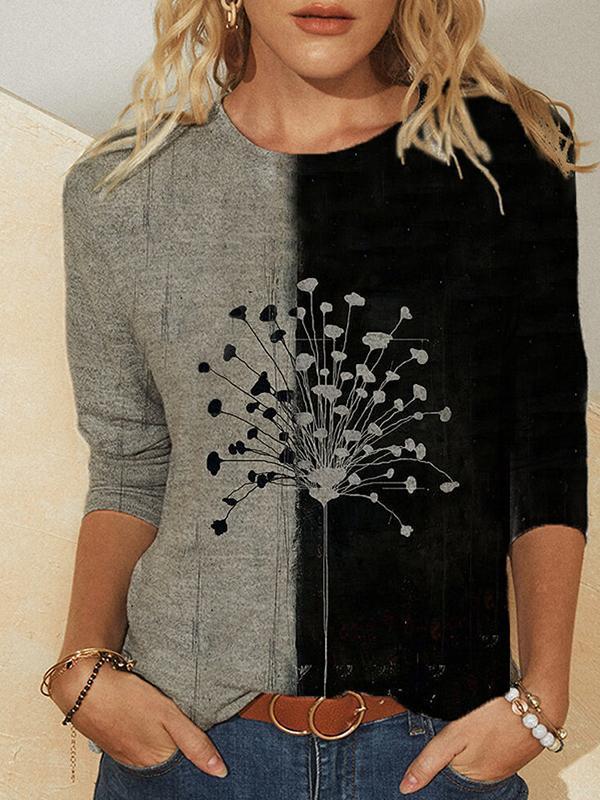 Fashion loose casual printed long-sleeved T-shirts