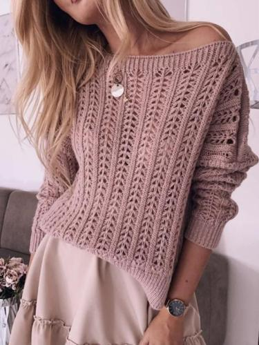 Pure Color Elegant Hollow Strapless Sexy Knitted Sweaters