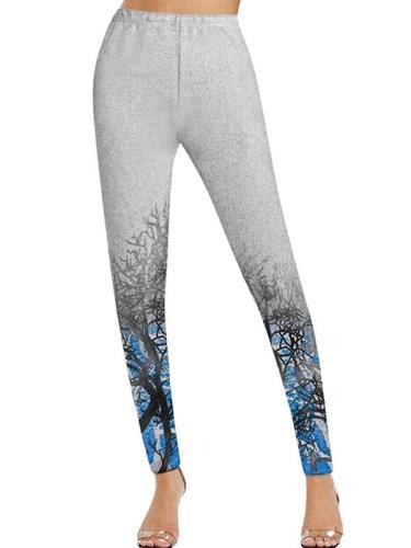 Landscape Painting Casual Cotton-Blend long pants