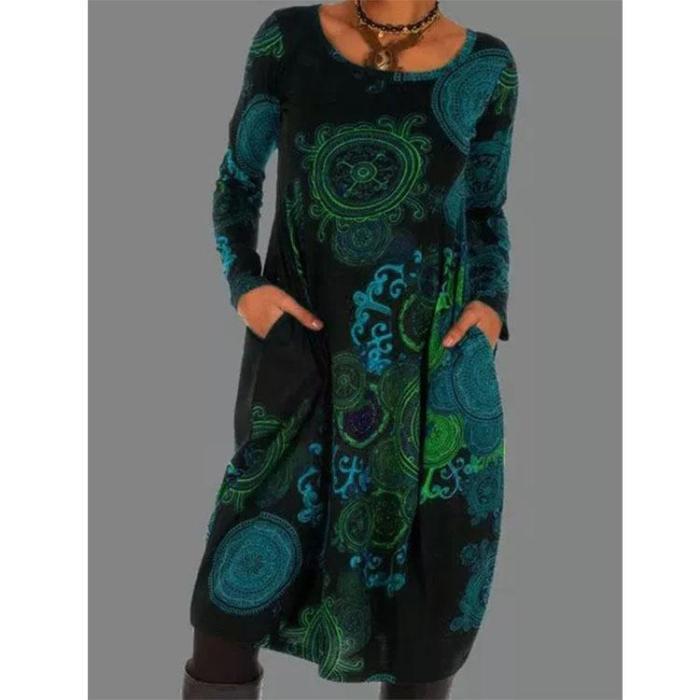 Printed ethnic style dress long dresses maxi dresses