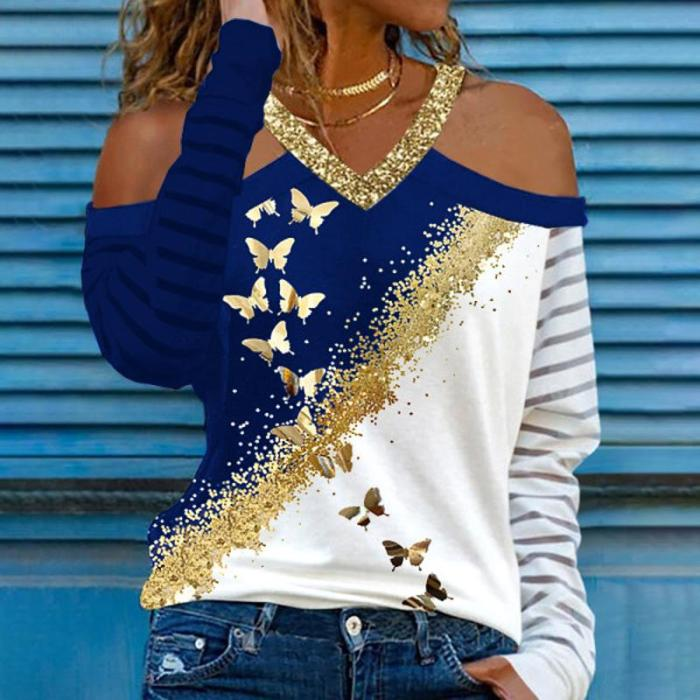 V neck bling butterfly printed women off shoulder long sleeve T-shirts